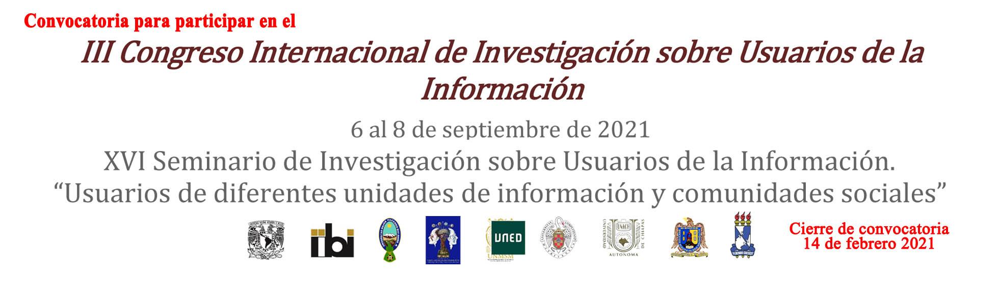 III CONGRESO INTERNACIONAL DE INVESTIGACION SOBRE USUARIOS DE LA INFORMACIÓN